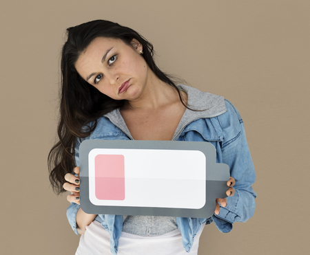 Woman Exhausted Tired Low Battery Symbol