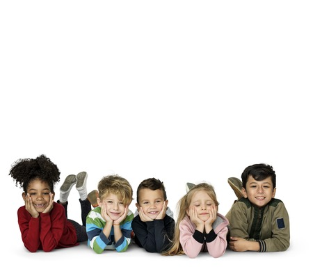 Diverse group of kids in a row portrait