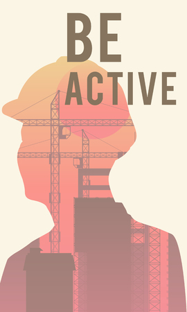 Double exposure of human silhouette and industrial background with Be Active concept Stock Photo - 112970694