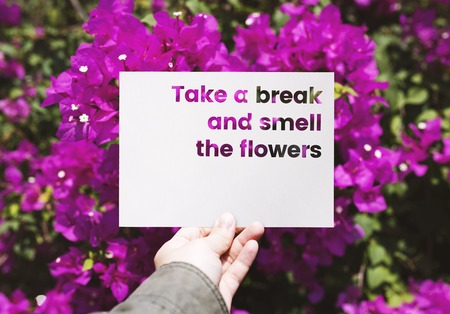 People Hand Holding Paper with Bougainvillea Background Stock Photo