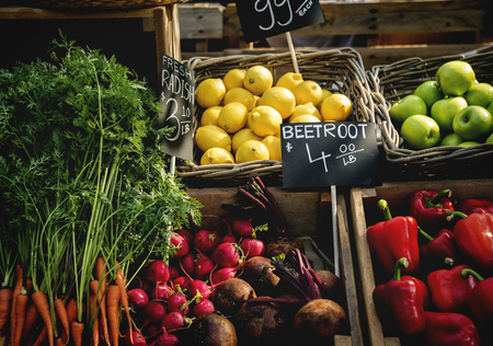 Organic fresh agricultural product at farmer market Stock Photo