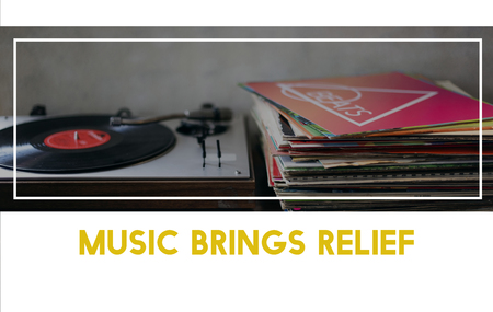 Vinyl stack with vintage record player