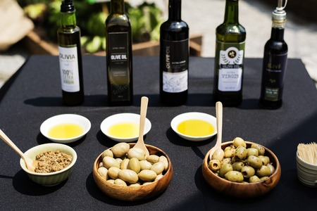 Olive oil and products sample display Stock fotó