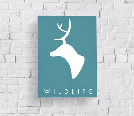 Green deer wildlife graphic illustration