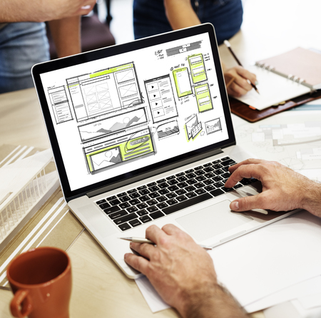 architect drawing: Website development layout sketch drawing Stock Photo