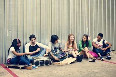 radio activity: People Friendship Togetherness Pizza Activity Youth Culture Concept