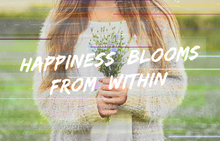 Happiness Blooms From Within Phrase Words Flower 版權商用圖片 - 76696536