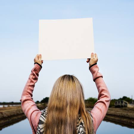 Young Woman Hands Holding Blank Empty Paper