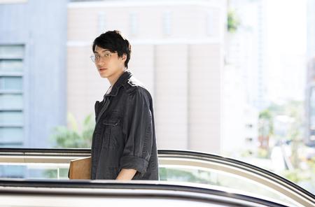 Asian Guy Escalator BTS Jeans Jacket