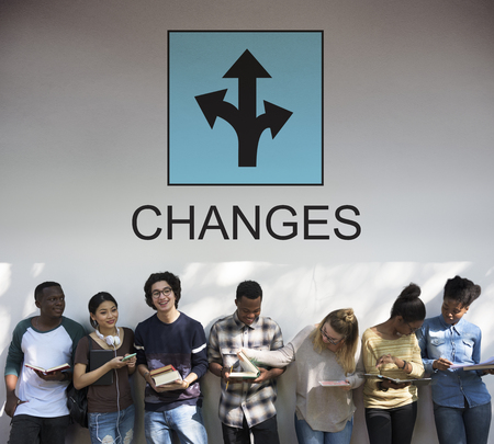 Group of young people with changes concept