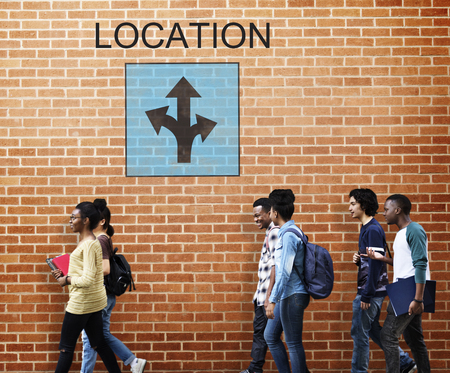 College students with location concept