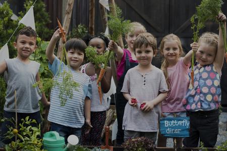 야외에서 원예를 배우는 유치원 아이들의 그룹 스톡 콘텐츠 - 76706797