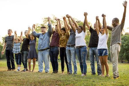 Groep mensen die de eenheid van het handssupportteam houden Stockfoto