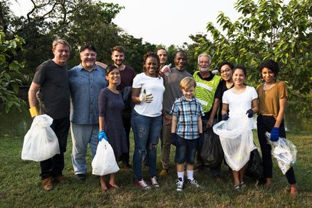 public welfare: Group of diversity people volunteen charity project