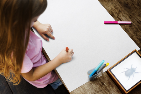 Kid Drawing Placard Felt Pen Table Stock Photo Picture And Royalty
