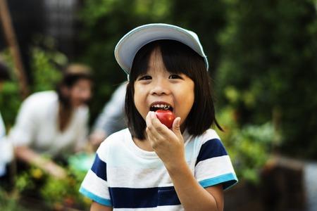 A boy eatting tomato Stock Photo