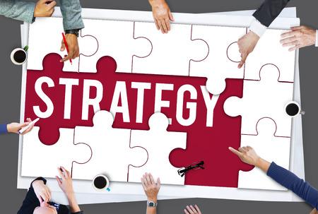 Strategie tactiek woord puzzelstukken