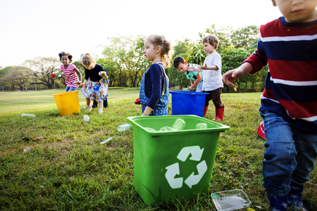public welfare: Group of kids school volunteer charity environment