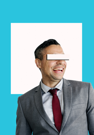 Businessman Eye Covered Copy Space Concept Stock Photo