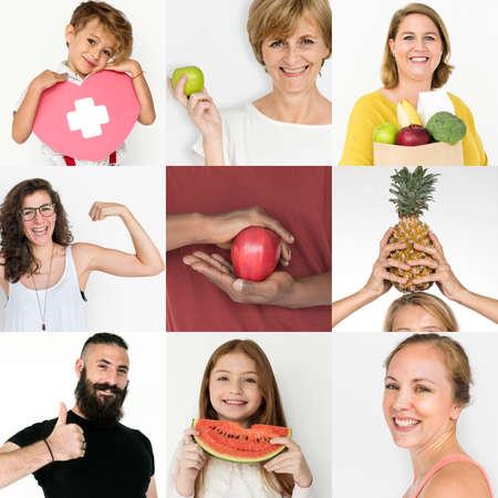 건강한 생활 스타일 스튜디오 콜라주를 가진 다양성의 사람들 스톡 콘텐츠