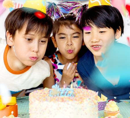 Happiness group of cute and adorable children having birthday party Stok Fotoğraf