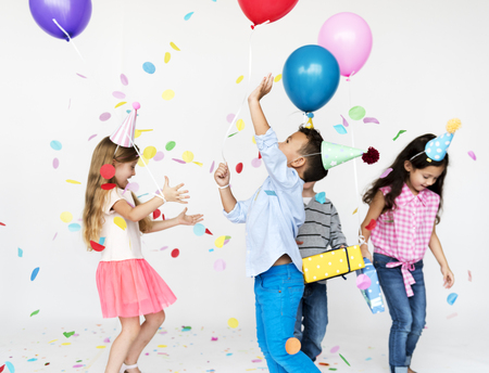 Happiness group of cute and adorable children having party Standard-Bild