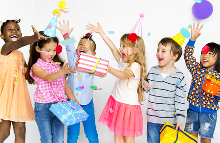 Happiness group of cute and adorable children having party Stok Fotoğraf