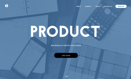 Website with product concept Stock Photo