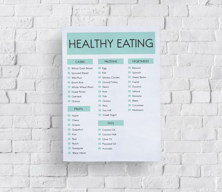 Poster on wall with healthy eating concept Stock Photo