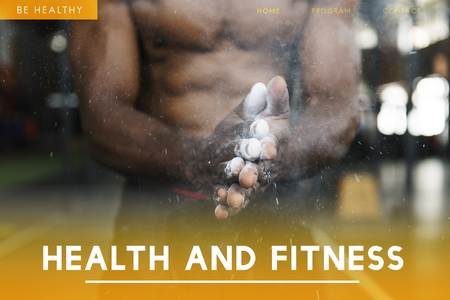 Webpage with health and fitness concept