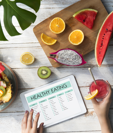 Woman with healthy eating concept Stock Photo