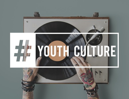 plater: Hashtag Young Attitude Youth Power Stock Photo