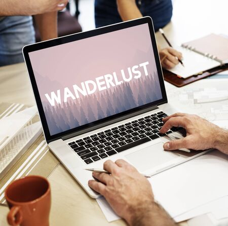 itinerary: Wanderlust word on nature background with trees