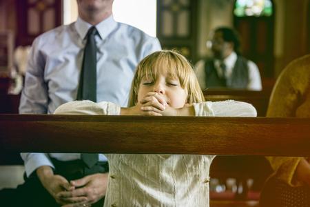 hymnal: LIttle GIrl Praying Church Believe Faith Religious
