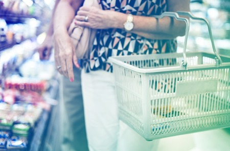 Photo Gradient Style with Close up woman doing her grocery shopping