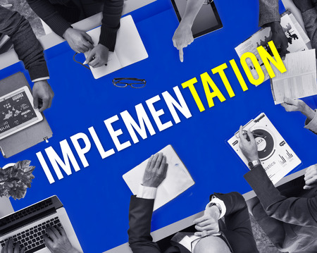 Business meeting with implementation concept Stock Photo