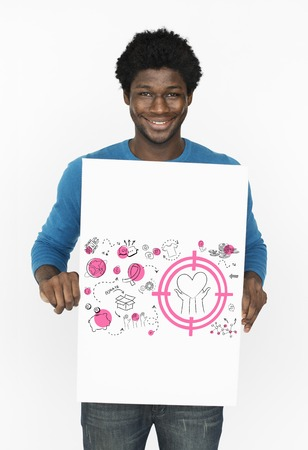 African man holding a placard with donation concept