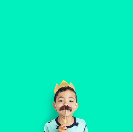 Little Boy With Crown Mustache Costume Studio 版權商用圖片