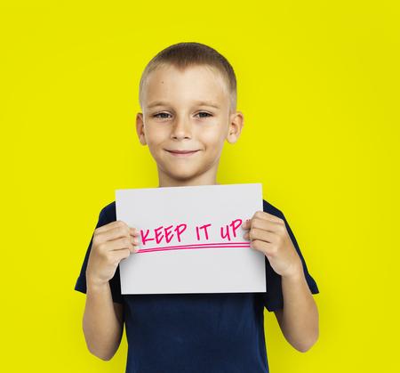 動機の単語メッセージを戦い続ける 写真素材