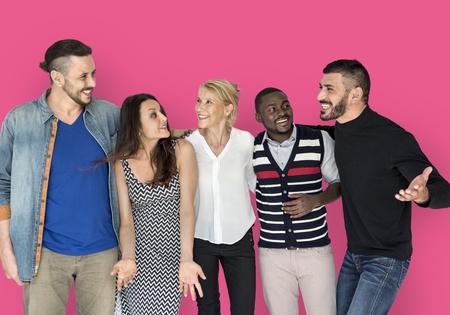 Mensen Vriendschap Glimlachend Geluk Samenhorigheid Stockfoto