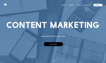 Website with content marketing concept