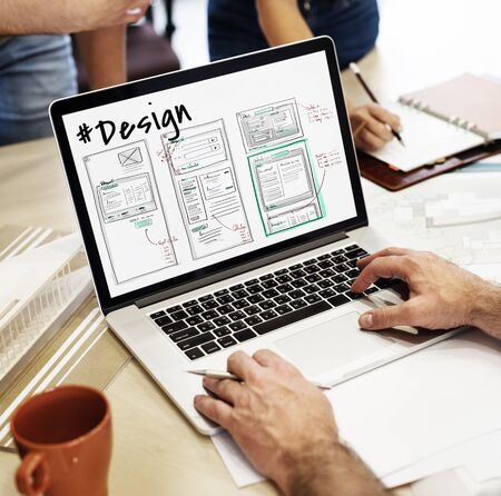 taking notes: Website development layout sketch drawing Stock Photo