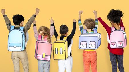 Enfant, école, amis, Illustration, concept Banque d'images - 76927625