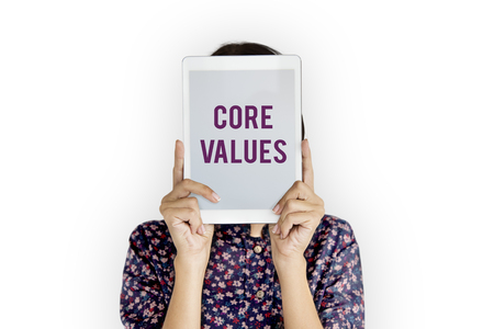 Core values word young people Stock Photo