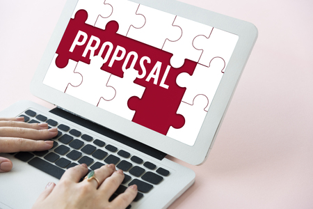 Proposal proposition word puzzle pieces Stock Photo