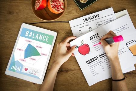 Woman with balance diet concept Stok Fotoğraf