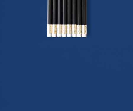 reverse: Black Wooden Pencils with Eraser Studio Isolated