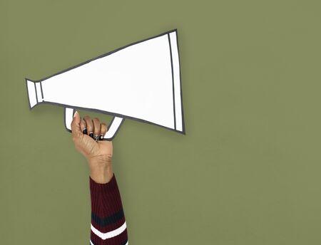 Hand Up Holding megaphone Illustration Stok Fotoğraf - 76927714