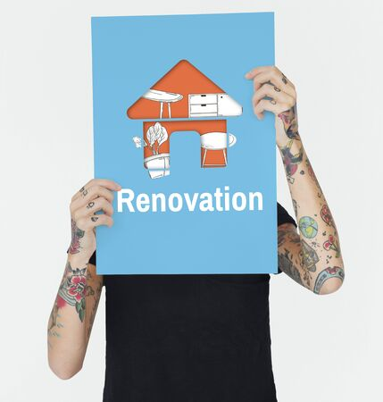 hand holding paper: Apartment Home Your Space Decoration Renovation Style Stock Photo