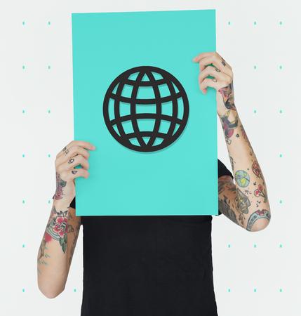 hand holding paper: Artwork Design Globe Object Icon